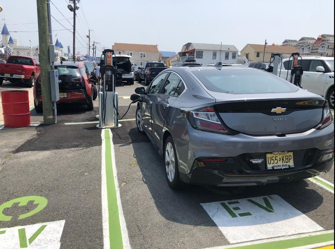 Car being charged at an Electric Vehicle Charging Station